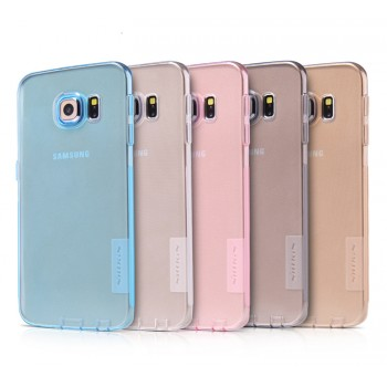 Силиконовый матовый полупрозрачный чехол повышенной ударостойкости с нескользящими гранями и защитными клапанами разъемов для Samsung Galaxy S6 Edge