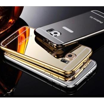 Двухкомпонентный чехол с металлическим бампером и поликарбонатной зеркальной накладкой для Samsung Galaxy S6 Edge