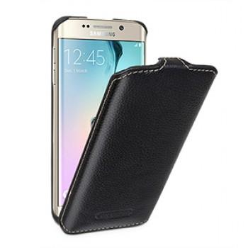 Кожаный чехол вертикальная книжка (нат. кожа) для Samsung Galaxy S6 Edge