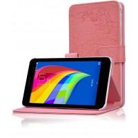 Чехол подставка на поликарбонатной основе с декоративным тиснением для Huawei MediaPad T1 7.0/T2 7.0 Розовый