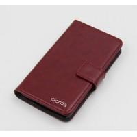 Чехол портмоне подставка на силиконовой основе с защелкой для Alcatel One Touch Idol 3 (5.5) Бордовый