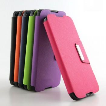 Текстурный чехол портмоне подставка на силиконовой основе с дизайнерской защелкой для Alcatel One Touch Idol 3 (5.5)
