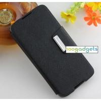 Текстурный чехол портмоне подставка на силиконовой основе с дизайнерской защелкой для Alcatel One Touch Idol 3 (5.5) Черный