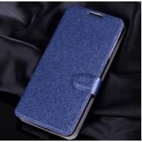 Текстурный чехол портмоне подставка на силиконовой основе с магнитной защелкой для Alcatel One Touch Idol 3 (4.7) Синий