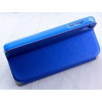 Чехол флип подставка с окном вызова на силиконовой основе для Alcatel One Touch Idol 3 (4.7) Голубой