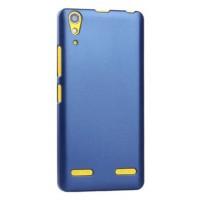 Пластиковый матовый металлик чехол для Lenovo A6000 Синий