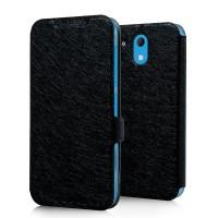 Текстурный чехол флип подставка на пластиковой основе с магнитной защелкой для HTC Desire 526 Черный