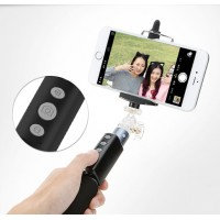 Телескопический экстралегкий 180 гр монопод-держатель 21-90 см с нескользящей ручкой, кнопкой удаленной bluetooth фотосъемки, защитным шнурком, переключателем камеры, возможностью записи видео и зумирования (может потребоваться установка допприложения BT Shutter) для Nokia 515