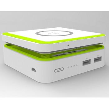 Беспроводное qi зарядное устройство, совмещенное с портативным зарядным устройством 6000 mAh на 2 USB-разъема (2А и 1А)