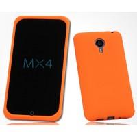Силиконовый матовый софт-тач премиум чехол для Meizu MX4 Оранжевый