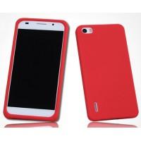Силиконовый софт-тач премиум чехол для Huawei Honor 6 Красный