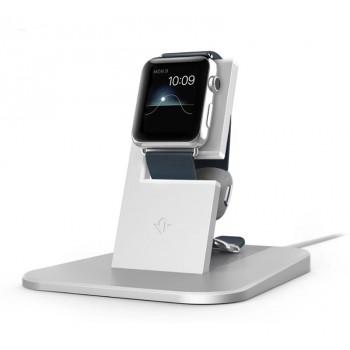 Эксклюзивная цельнометаллическая полированная премиум подставка с силиконовыми вставками (для исключительной защиты ремешка от царапин) для зарядки Apple Watch