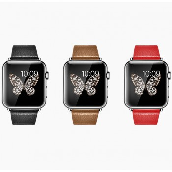 Кожаный зернистый ремешок с металлическим коннектором для Apple Watch 38мм