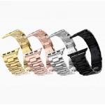 Эксклюзивный премиум браслет из нержавеющей гипоаллергенной ювелирной стали трехсегментный с отделкой золотом 18к (750-я проба) для Apple Watch 42мм