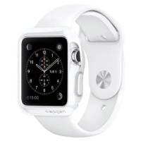Силиконовый ударостойкий чехол с дополнительной защитой Digital Crown и задней поверхности для Apple Watch 38мм Белый