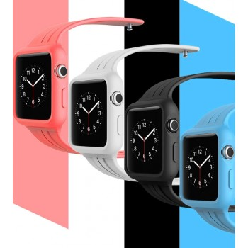 Цельный нескользящий гипоаллергенный силиконовый чехол с ремешком для Apple Watch 42м