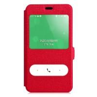 Текстурный чехол флип подставка на пластиковой основе с окном вызова и свайпом для Meizu M2 Note Красный