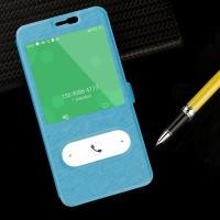 Текстурный чехол флип подставка на пластиковой основе с окном вызова и свайпом для Meizu M2 Note Голубой