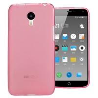 Силиконовый матовый полупрозрачный чехол для Meizu M2 Note Розовый