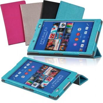 Сегментарный чехол подставка с рамочной защитой текстура Полосы для Sony Xperia Z3 Tablet Compact