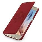 Эксклюзивный текстурный кожаный чехол горизонтальная книжка (нат. кожа) для Samsung Galaxy S6