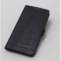 Кожаный чехол портмоне (нат. кожа крокодила) на пластиковой основе для Lenovo S660 Ideaphone Черный