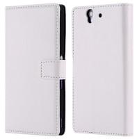 Чехол портмоне подставка с защелкой вперед для Sony Xperia Z Белый