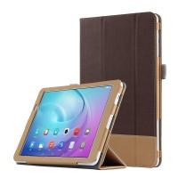 Сегментарный чехол книжка подставка текстура Линии с рамочной защитой экрана и тканевым покрытием для Huawei MediaPad T2 10.0 Pro Коричневый