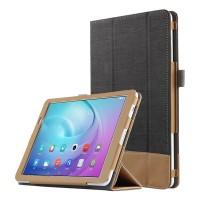 Сегментарный чехол книжка подставка текстура Линии с рамочной защитой экрана и тканевым покрытием для Huawei MediaPad T2 10.0 Pro Черный