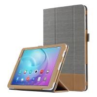 Сегментарный чехол книжка подставка текстура Линии с рамочной защитой экрана и тканевым покрытием для Huawei MediaPad T2 10.0 Pro Серый