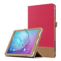Сегментарный чехол книжка подставка текстура Линии с рамочной защитой экрана и тканевым покрытием для Huawei MediaPad T2 10.0 Pro Красный