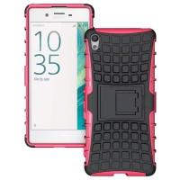 Противоударный двухкомпонентный силиконовый матовый непрозрачный чехол с нескользящими гранями и поликарбонатными вставками экстрим защиты с встроенной ножкой-подставкой для Sony Xperia XA Розовый