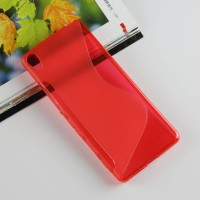 Силиконовый матовый полупрозрачный чехол с дизайнерской текстурой S для Sony Xperia XA Красный