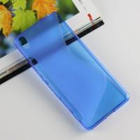Силиконовый матовый полупрозрачный чехол с дизайнерской текстурой S для Sony Xperia XA Синий