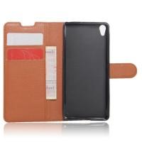 Чехол портмоне подставка на силиконовой основе на магнитной защелке для Sony Xperia XA Коричневый