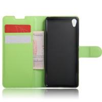 Чехол портмоне подставка на силиконовой основе на магнитной защелке для Sony Xperia XA Зеленый