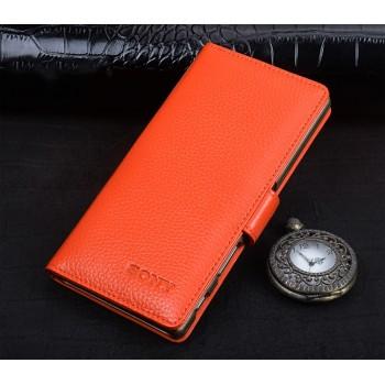 Кожаный чехол портмоне подставка (премиум нат. кожа) с крепежной застежкой для Sony Xperia XA