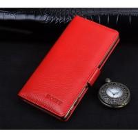 Кожаный чехол портмоне подставка (премиум нат. кожа) с крепежной застежкой для Sony Xperia XA Красный
