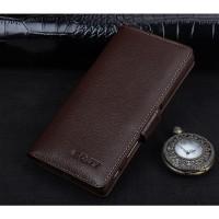 Кожаный чехол портмоне подставка (премиум нат. кожа) с крепежной застежкой для Sony Xperia XA Коричневый