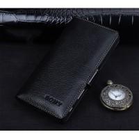 Кожаный чехол портмоне подставка (премиум нат. кожа) с крепежной застежкой для Sony Xperia XA Черный