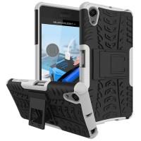 Противоударный двухкомпонентный силиконовый матовый непрозрачный чехол с поликарбонатными вставками экстрим защиты с встроенной ножкой-подставкой для Sony Xperia X Performance Белый