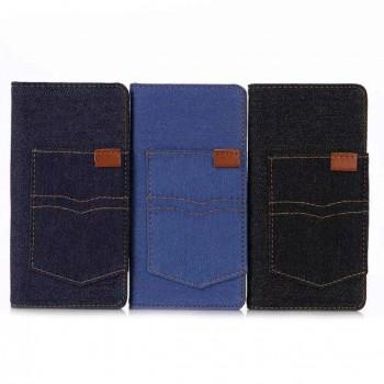 Чехол портмоне подставка на силиконовой основе с отсеком для карт и тканевым покрытием для Sony Xperia X Performance