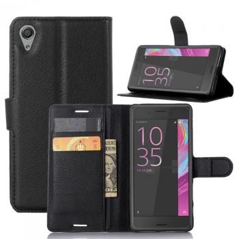 Чехол портмоне подставка на силиконовой основе на крепежной застежке для Sony Xperia X