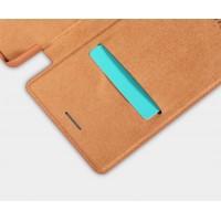 Винтажный чехол горизонтальная книжка на пластиковой основе с отсеком для карт для Sony Xperia X Бежевый