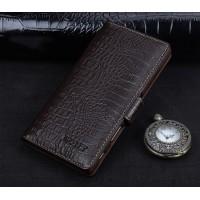 Кожаный чехол портмоне подставка (премиум нат. кожа крокодила) с крепежной застежкой для Sony Xperia X Коричневый