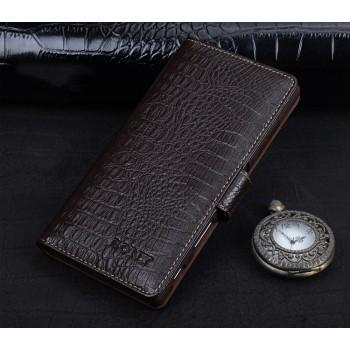 Кожаный чехол портмоне подставка (премиум нат. кожа крокодила) с крепежной застежкой для Sony Xperia X