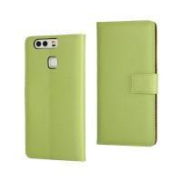 Чехол портмоне подставка на пластиковой основе на крепежной застежке для Huawei P9  Зеленый