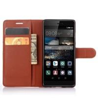 Чехол портмоне подставка на силиконовой основе на крепежной застежке для Huawei P9 Коричневый