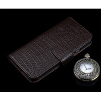 Кожаный чехол портмоне подставка (премиум нат. кожа крокодила) с крепежной застежкой для Huawei P9