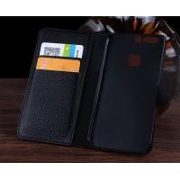 Кожаный чехол портмоне подставка (премиум нат. кожа крокодила) с крепежной застежкой для Huawei P9 Черный